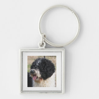 Spanish Water Dog b/w.png Silver-Colored Square Key Ring