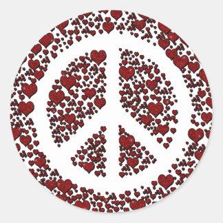 Sparkle Hearts in Peace. Round Sticker