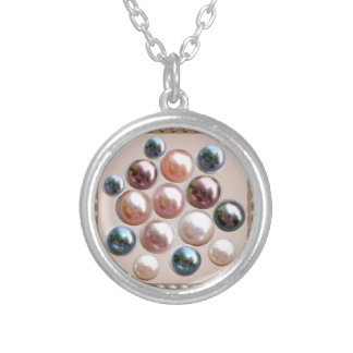 Sparkle Pearl Jewels Round Pendant Necklace