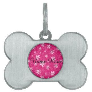 Sparkle Pink White Crop Circles Pet ID Tag