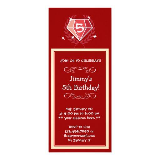 Sparkle Red Ruby Gems Birthday Party Invitation