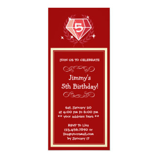 Sparkle Red Ruby Gems Birthday Party Invitation