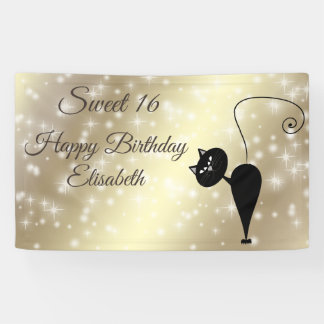 Sparkles golden funny whimsical cat sweet 16 party banner