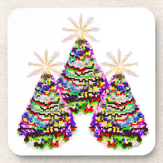 Sparkling Abstract Christmas Trees Design Coaster