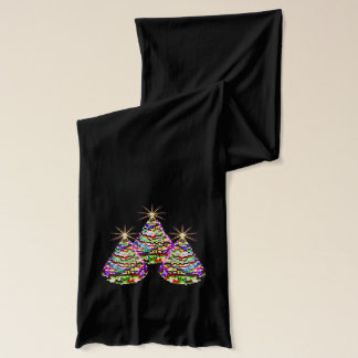 Sparkling Abstract Christmas Trees Design on Red Scarf