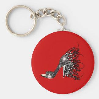 Sparkling Black Stiletto on Red Basic Round Button Key Ring