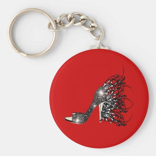 Sparkling Black Stiletto on Red Keychain
