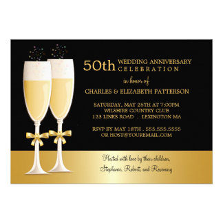 Sparkling Champagne 50th Wedding Anniversary Party Cards