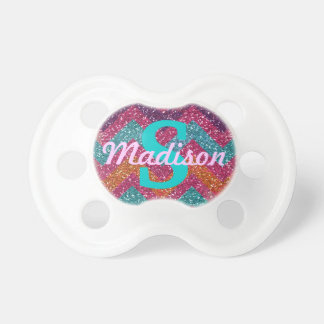 Sparkling Chevron Personalised Baby Girl Pacifier
