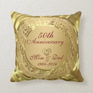 Sparkling Gold 50th Wedding Anniversary Cushions