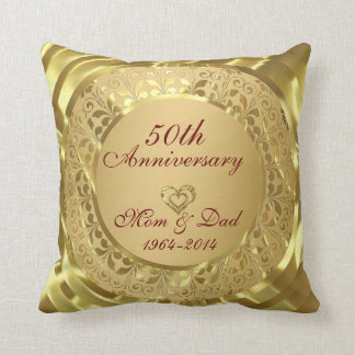 Sparkling Gold 50th Wedding Anniversary Throw Pillow