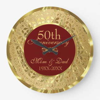 Sparkling Gold Damask 50th Wedding Anniversary Wall Clocks