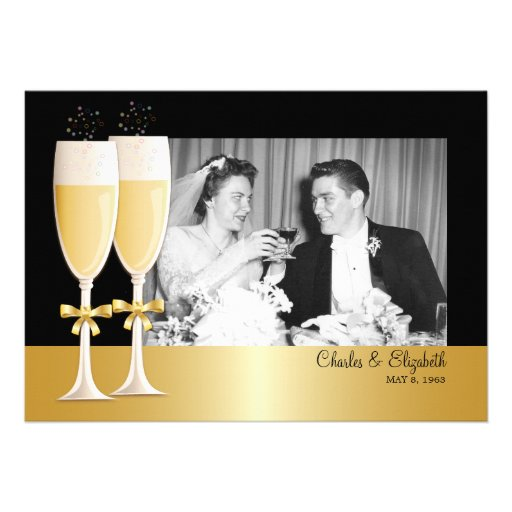 Sparkling Photo 50th Wedding Anniversary Party Personalized Invitation