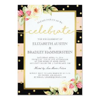 Sparkling Stripes   Floral Engagement Party Card