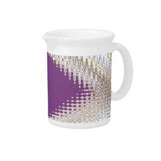 Sparkling White Jewels -  Silver Wave Pattern Pitcher