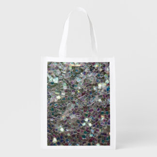 Sparkly colourful silver mosaic reusable grocery bag