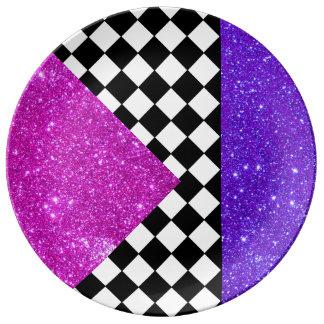 Sparkly Plates Party Fun Tableware Checkerboard 9