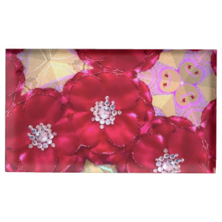 Sparkly red petals table card holder