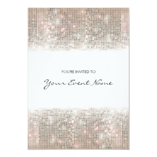 "Sparkly Silver Faux Sequins Festive Party 5"" X 7"" Invitation Card"