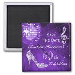 Sparkly Stiletto Heel 50th Birthday Save The Date Fridge Magnet