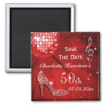 Sparkly Stiletto Heel 50th Birthday Save The Date Square Magnet