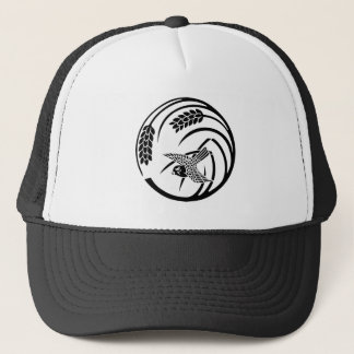 Sparrow in rice-plant circle trucker hat