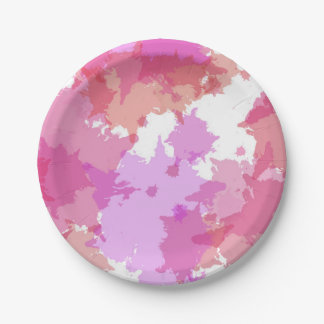 Spatter Paint Watercolor Pink Party Plate