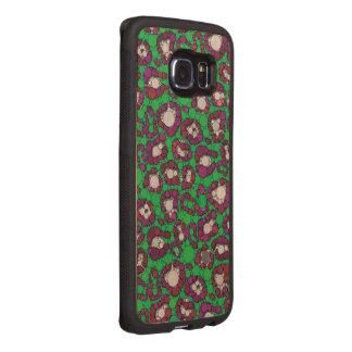 Spearmint Purple Cheetah Abstract Wood Phone Case
