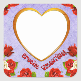 Special Valentine, Roses and Frame Add Photo Square Sticker