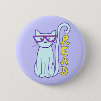 Spectacle Cat with Purple Glasses with Read sign 6 Cm Round Badge