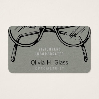 Spectacles Eyewear Grey Faux Flannel Business Card