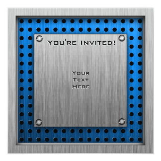 "Speed Skater; Metal-look 5.25"" Square Invitation Card"
