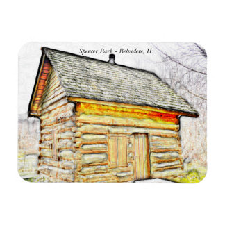 Spencer Park Log Cabin Home Magnet (Belvidere, IL)