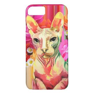 Sphynx Cat in flowers. iPhone 8/7 Case