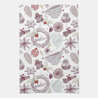 Spicy Winter Theme Pattern Kitchen Towel