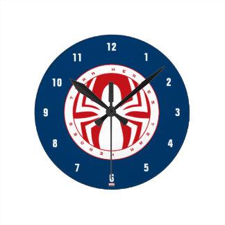 Spider-Man Team Heroes Emblem Round Clock