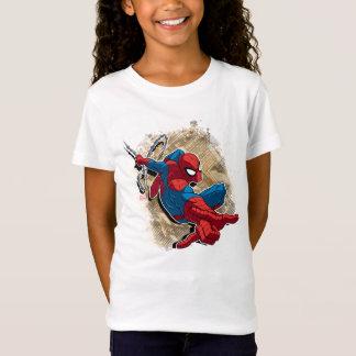 Spider-Man Web Slinging Above Grunge City T-Shirt