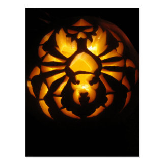 Spider Pumpkin Carving Postcard