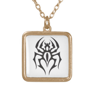 Spider Tribal Tattoo Gold Plated Necklace