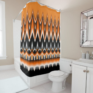 Spiked Orange White and Black Design Shower Curtain