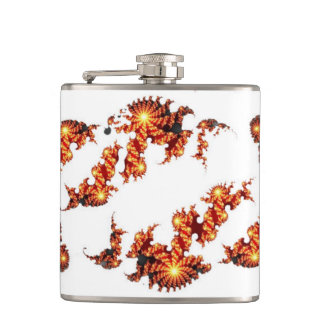 Spinning Golden Fractal Pattern Hip Flask