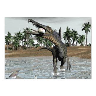 Spinosaurus dinosaur eating fish - 3D render Card