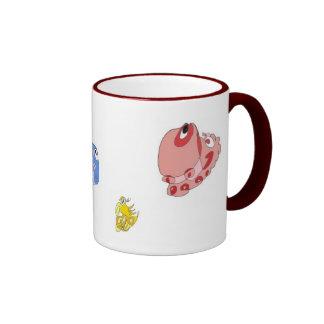 Spiral doodle creatures ringer mug