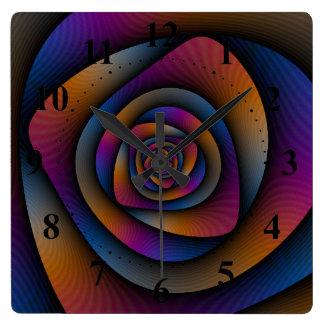 Spiral Labyrinth in Blue Orange and Pink Clocks