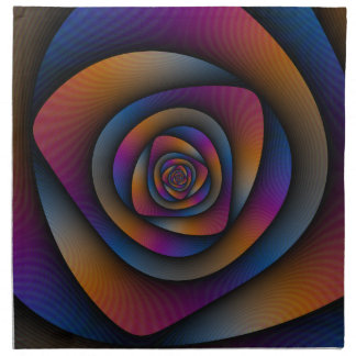 Spiral Labyrinth in Blue Orange and Pink Cloth Napkin