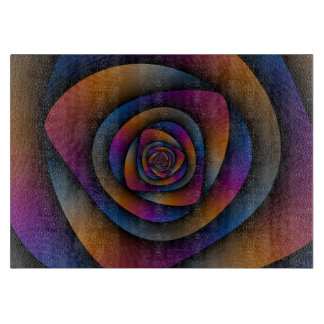 Spiral Labyrinth in Blue Orange and Pink Cutting Boards