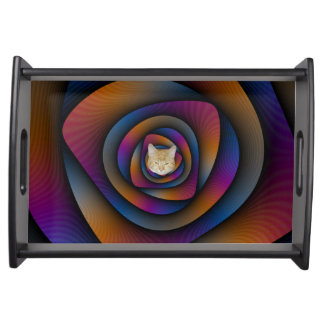 Spiral Labyrinth in Blue Orange and Pink Food Trays