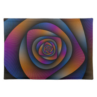 Spiral Labyrinth in Blue Orange and Pink Placemats