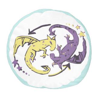 Spiraling Dragons Pouf
