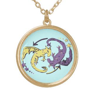 Spiraling Dragons Round Pendant Necklace